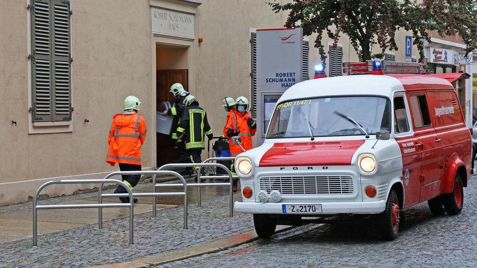 Im Schumannhaus in Zwickau drang Wasser über ein Glasdach ein.