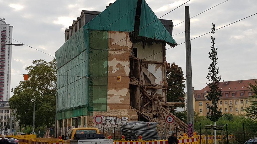 Eingestürztes Haus in der Rosa-Luxemburg-Straße in Leipzig