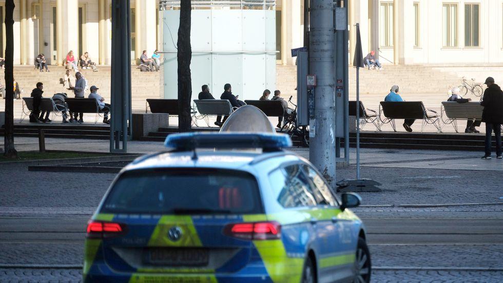 Polizeiauto in der Leipziger Innenstadt