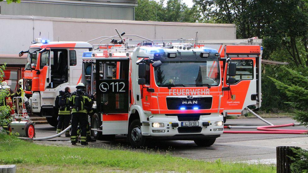 Brand auf Schulgelände in Leipzig-Grünau